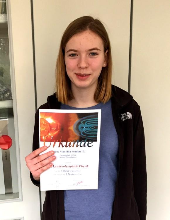 Gesamtschule Königs Wusterhausen_Landesolympiade Physik 2020_Helene hat sich für die zweite Runde qualifiziert